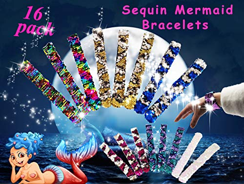 Neathouse 16 Pack Mermaid Sequin Bracelets for Party Favors,Sequin Slap Wristband for Kids and Adults by Neathouse