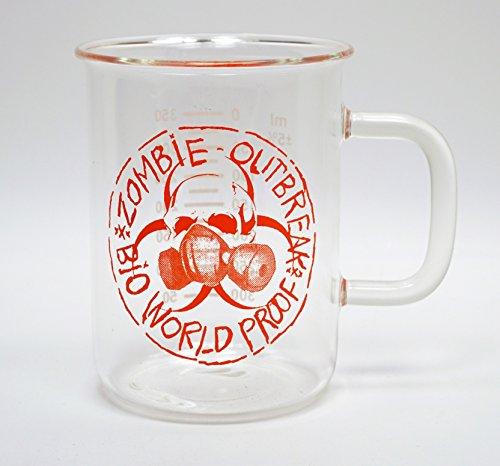 Laboratory Beaker Mug  17 Oz Glass Mug With Zombie Biohazard Artwork  Orange