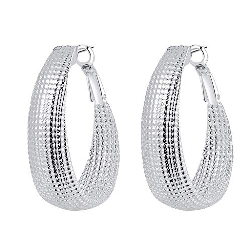 (XBKPLO Earrings for Women's Fashion Classic Big Hoop Drop Dangle Earring Simple Large Silver Plated Mesh Exaggerated Earrings Ladies Jewelry)