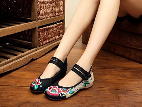 Mujeres Cómodo De Moda Mn Baile Estilo Étnico Tendón Gamuza Bordado Zapatos Suela Zapatos Negro xCzPqCw