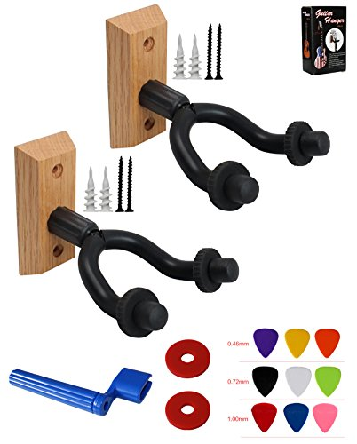 Wood Guitar Straps (YMC 2 Pack GHW-10 Hardwood Home & Studio Guitar Hanger Hook Keeper-Black)