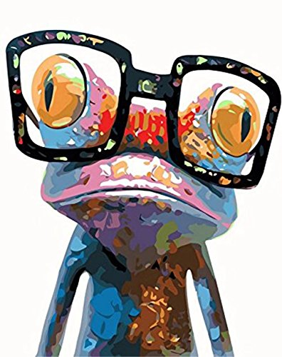 DIY Diamond Oil Painting Animal, Karida 5D DIY Diamond Painting by Number Kits Sunglasses Frog for Wall Decoration 10X12 inches (Full Drill)