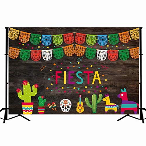 7x5ft Photography Backdrop Mexican Fiesta Theme Mexico Cactus Party Background Cinco de Mayo Colorful Flags Wood Wall Banner Dress-up Decoration Photo Booth Props W-1908