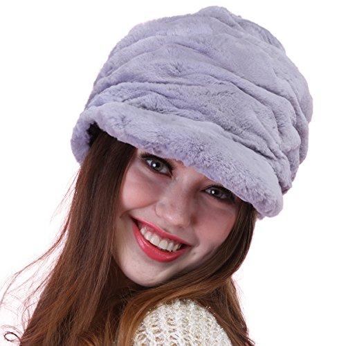 Mandy's Women's Warm Winter Genuine Rabbit Fur Hats Below Zero Show Caps (one size fit most, Grey) by Mandy's