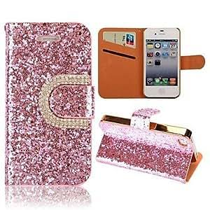GDW bling del estilo de la carpeta de lujo del soporte del diamante flip + estuche de cuero con ranura para tarjeta para el iphone 4 / 4s (colores , Silver
