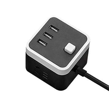 Hemore - Cargador USB Cuadrado portátil con 3 Puertos USB y ...