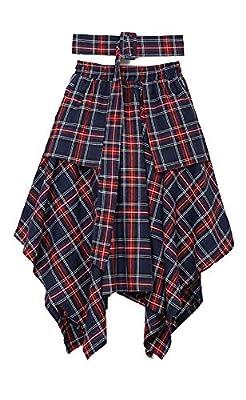 Nite closet Tartan Skirts for Women Knee Length Red Irish Plaid Skirt