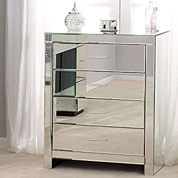 Empire Trading 4 DRAWER DELUX MODERN GLASS MIRRORED BEDROOM ...