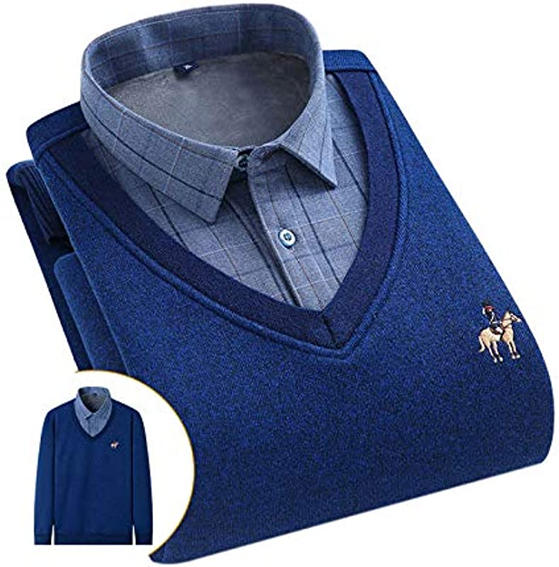 Elonglin Męskie Jungen Dicke Sweater Strick Pullover Hemd Langarmshirts mit Warmfutter Freizeit Slim Fit Blau 6 L: Odzież