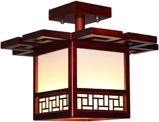 Style wei Ywyun Lámpara de Techo de Madera sólida Antigua Japonesa ...