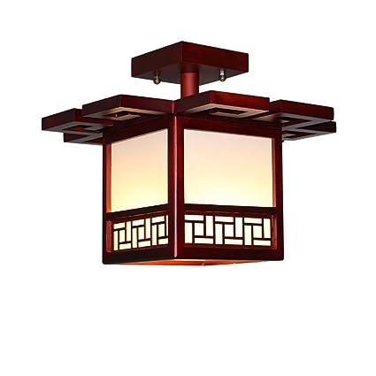 Style wei Ywyun Lámpara de Techo de Madera sólida Antigua ...