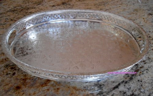 - Moroccan Tea Tray Serving Cocktail Brass Plated Handmade Fez Large Oval