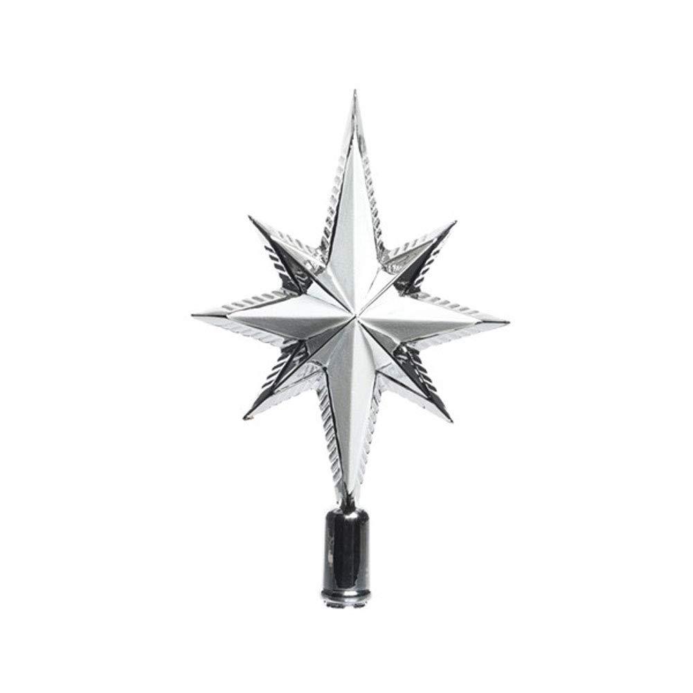 Decoris Luxury Glitter Shatterproof Star Christmas Tree Topper Decoration Silver Keamingk
