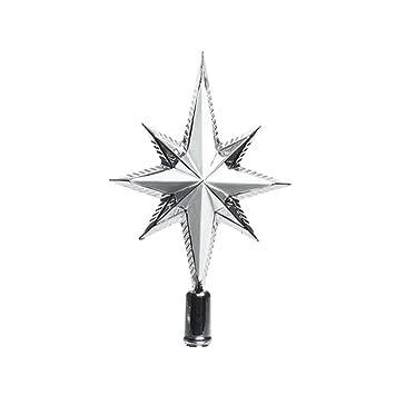 Baumspitze Stern Glitter 25cm Kunststoff Silber Bruchfest