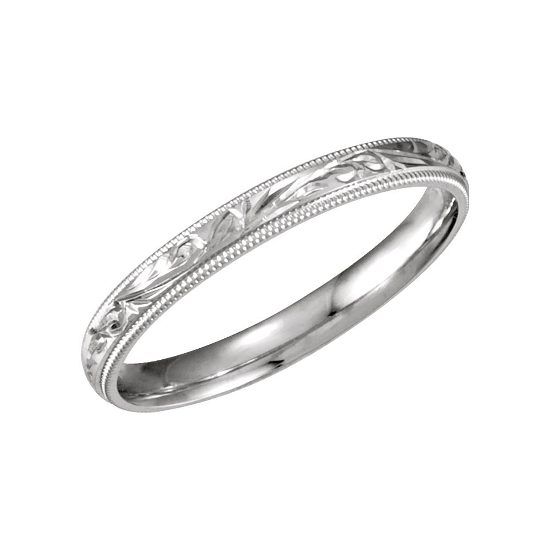 Bonyak Jewelry 14k White Gold 3mm Comfort-Fit Band - Size 5