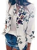 YT couple Women's Classic Flower Print Long Sleeve Zip up Spring Autumn Short Bomber Jacket Baseball Coat (White, 2XL)