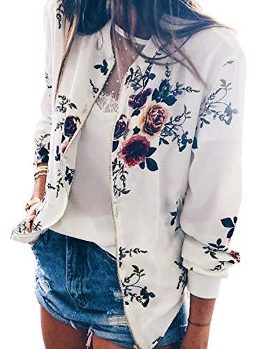 YT couple Women's Classic Flower Print Long Sleeve Zip up Spring Autumn Short Bomber Jacket Baseball Coat (White, 2XL) by YT couple