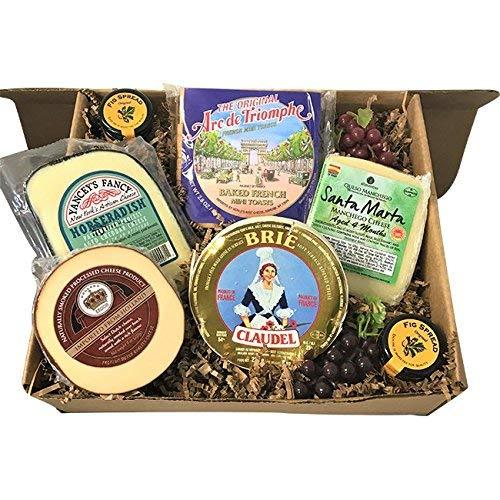Gourmet Cheese Gift Basket Sampler - 2 LB. Assortment Brie, Horseradish Cheddar, Manchego & Smoked Gouda