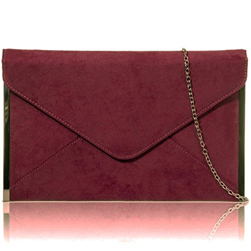 Flat Bag UK Suede Clutch Medium Women Designer Burgundy Ladies Xardi Envelope London New Faux Evening qWFn4TUwB