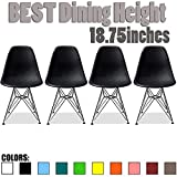 2xhome – Set of Four (4) Black – Plastic Side Chair Black Seat Chrome Metal Legs Eiffel Dining Room Chairs No Arm Arms Armless Molded Plastic Seat Dowel Leg Wood For Sale