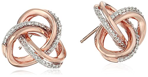 10k Pink Gold Diamond-Accented Interweaved Triangle Earrings