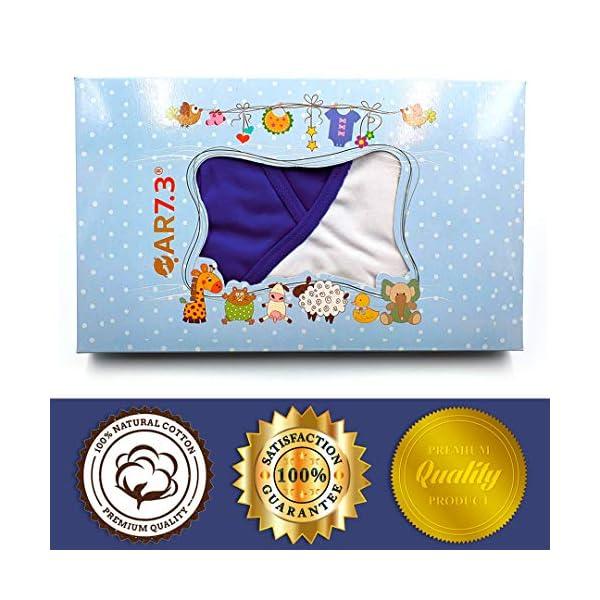 QAR7.3 Completo Vestiti Neonato 0-3 mesi - Set Regalo, Corredino da 5 pezzi: Body, Pigiama, Bavaglino e Cuffietta (Blu… 2