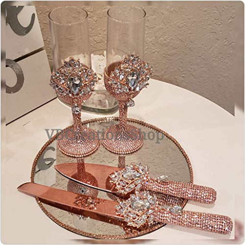 Rose Gold, Silver, Gold Bling Champagne Flutes Stemware and Cake Knife Server Set for Weddings, Parties and Events - Art Cake Deco Server