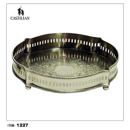 Castellana – Bandeja ovalada (latón antiguo acabado en plata # 1227