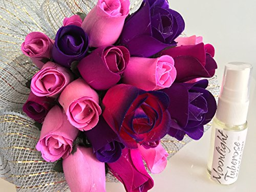 Scented Wooden Purple Eternal Bouquet Of Roses With A Refresher Spray In A Box - Moonlight Tuberose Fragrance 2 Dozen US Handmade