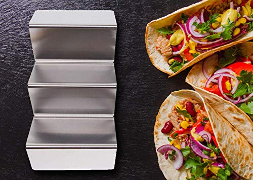 Roklur Premium Taco Holder Stainless Steel - 4 Pack Set - Safe for Oven Baking, Grill, and Dishwasher Tortilla Rack Holders for Party, Truck, and Restaurant - Bonus Serving Tray Dish by Roklur (Image #5)