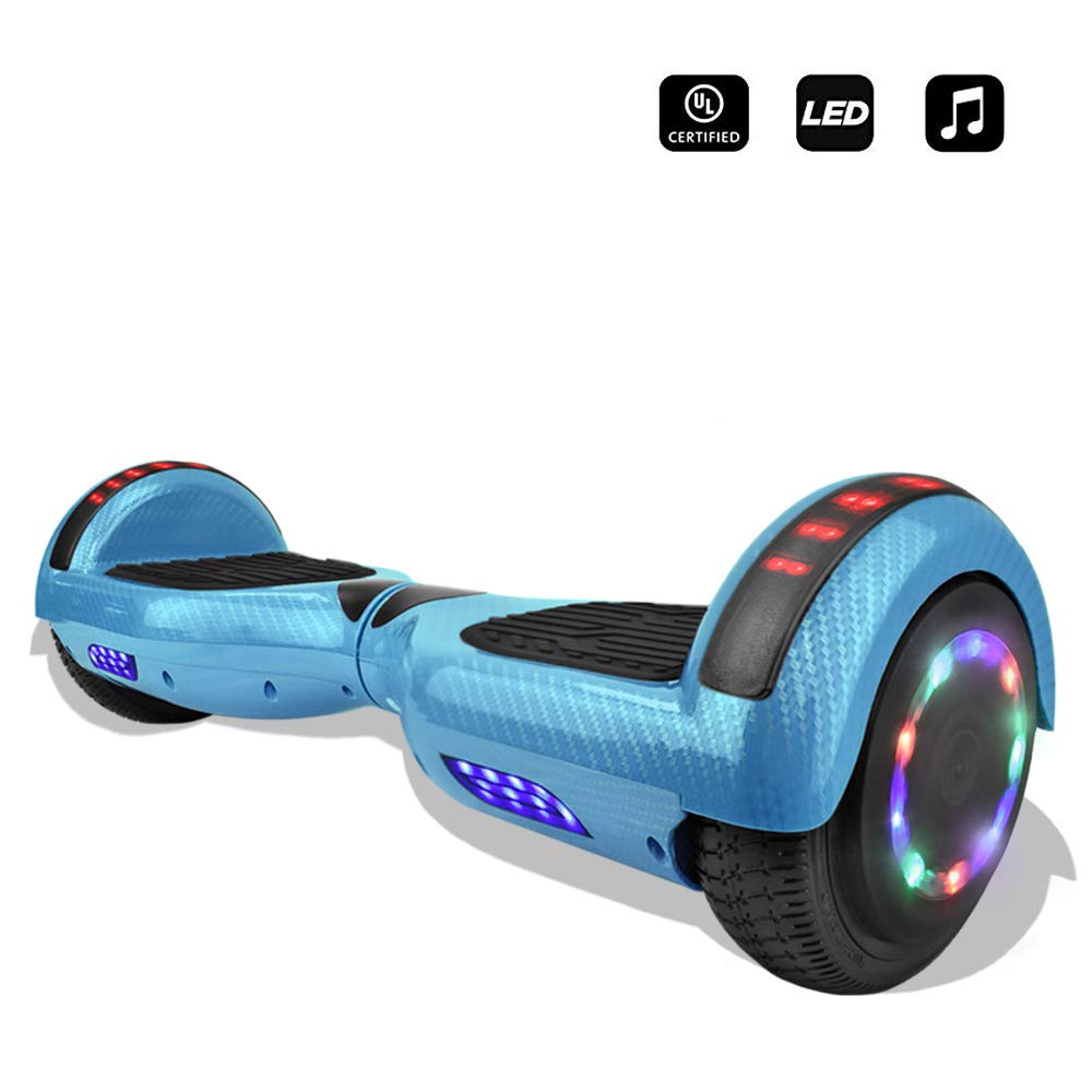 cho 6.5'' inch Wheels Electric Smart Self Balancing Scooter Hoverboard with Speaker LED Light - UL2272 Certified (-Carbon Fiber Design Blue) by cho