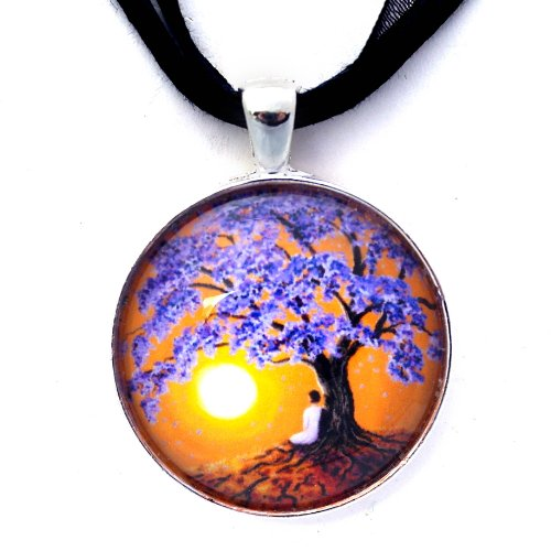 Jacaranda Tree Sunset Meditation Handmade Art Pendant (Black Ribbon Necklace)