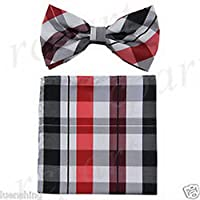 jacob alex #46624 formal Mens Pre tied Bow Tie and Hankie black red gray Plaid