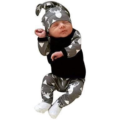 3b332683cb413 LuckyGirls Hiver Bébé Garçon Naissance Printemps Pas Cher Manteau Garçon  Pyjama Enfant fille Manche Longue Blouse Haut Top+ Pantalons + Bonnet -  3~18 Mois  ...