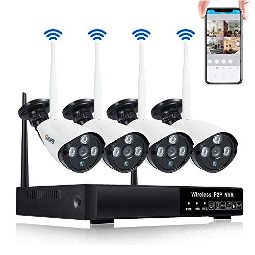 CANAVIS Security Camera System Wireless with Night Vision, Motion Detection, Manual Record or Motion Record, 960P HDMI NVR 4 x 720P HD Indoor and Outdoor Wireless Bullet IP Cameras, NO HDD