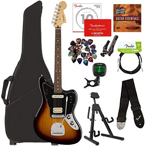 Fender Jaguar Bass Sunburst - Fender Player Jaguar, Pau Ferro - 3-Color Sunburst Bundle with Gig Bag, Stand, Cable, Tuner, Strap, Strings, Picks, Capo, Fender Play Online Lessons, and Austin Bazaar Instructional DVD