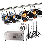 Alumotech 2X650Watt+2X1000Watt+Dimmers+Stands+Aluminium case 3300Watt Fresnel Tungsten Spotlight Halogen Lamp Studio Video Light Kit Air Cushioned Stands For Camera Lighting Compatible Bulb