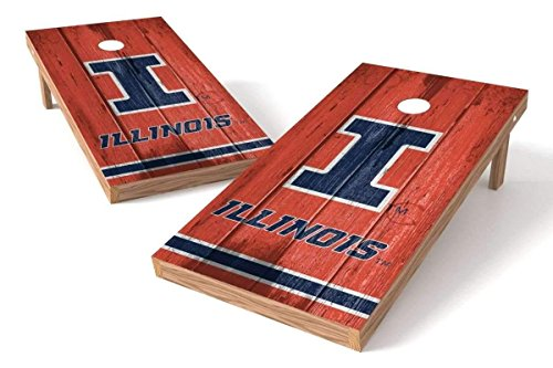 PROLINE NCAA College 2' x 4' Illinois Fighting Illini Cornhole Board Set - Vintage - Illinois Fighting Illini Bean Bag