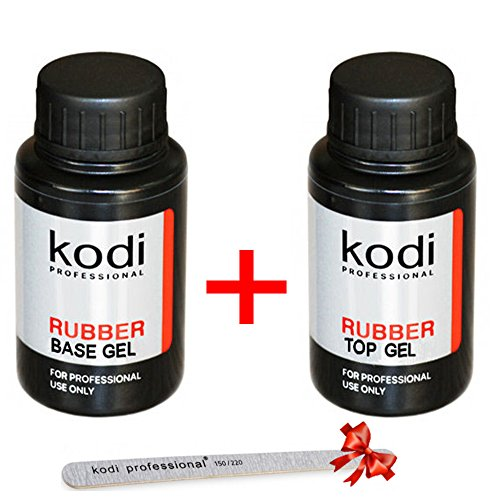 Kodi Professional Rubber Base Rubber Top 8 12 14 30 ml No Sticky Top Matte Velour Nail Polish Coat Soak Off Gel Polish Led UV + Kodi Nail File (Rubber Base+Rubber Top 30 ml. 1.06 oz (+Nail File))