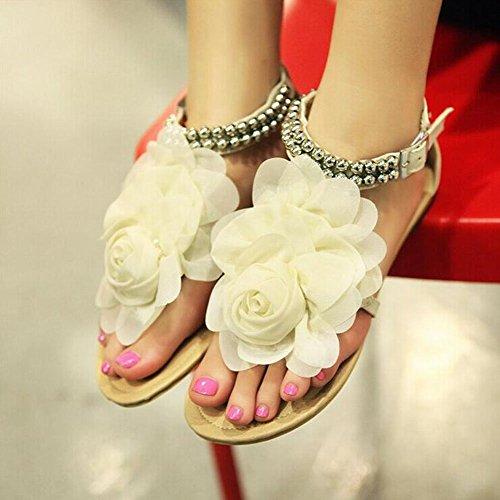 Damen beiläufige flache Sandalen Groß Größe 34.5-41.5 Beige