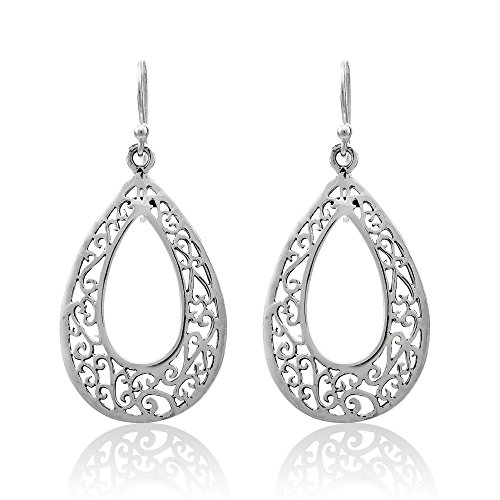 WithLoveSilver 925 Sterling Silver Cut Out Drop Design Celtic Filigree Dangle Earrings