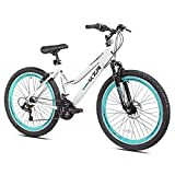 26' Women's Kent KZR Mountain Bike, White/Teal, 21-speed Shimano drivetrain (White/Teal)
