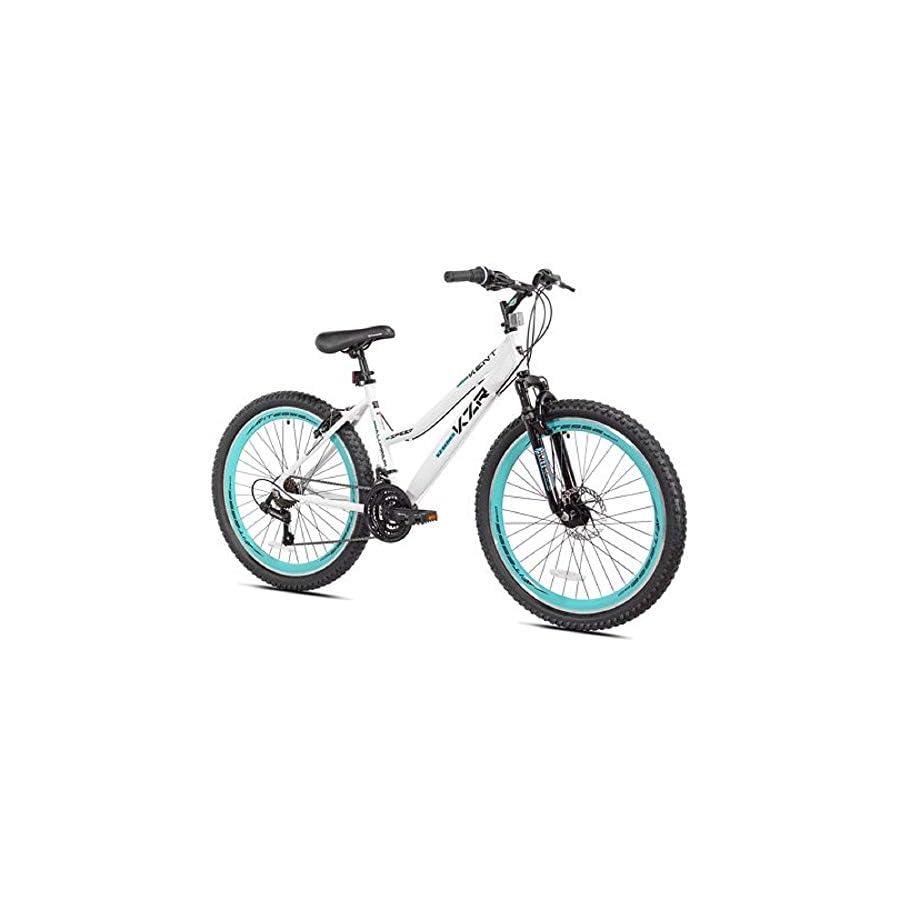 "26"" Women's Kent KZR Mountain Bike, White/Teal, 21 speed Shimano drivetrain (White/Teal)"