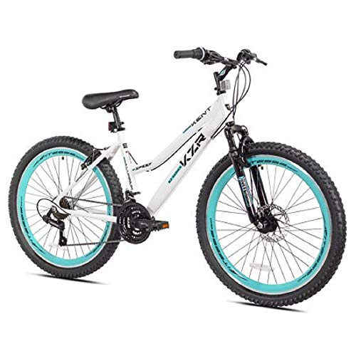 "26"" Women's Kent KZR Mountain Bike, White/Teal, 21-speed Shimano drivetrain (White/Teal)"