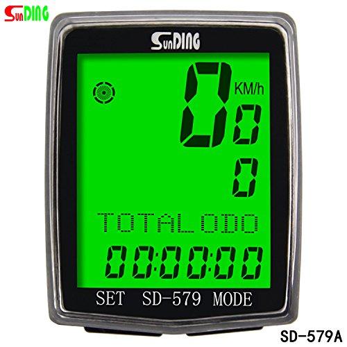 Multiling/üe SUNDING SD-579A Veloc/ímetro con Cable para Bicicleta y ATV Negro Cron/ómetro cuentakil/ómetros de Bicicleta cron/ómetro y Muchas Otras Funciones