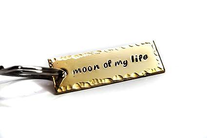 Hand Stamped Brass Mini Key Chain - Moon of My Life - Foxwise Jewelry