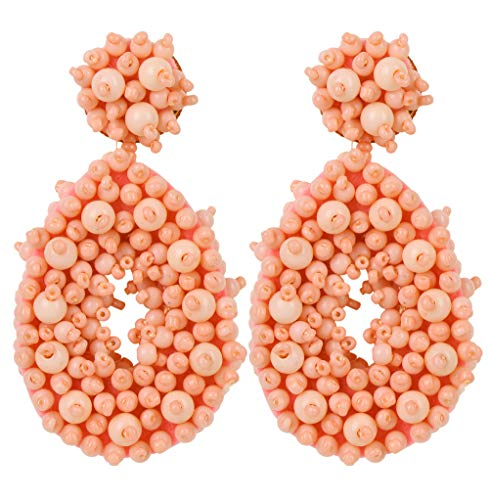 LOLIAS Statement Beaded Earrings Fashion Bohemian Handmade Drop Earrings for Women Girls Ideal Gifts,Pink ()