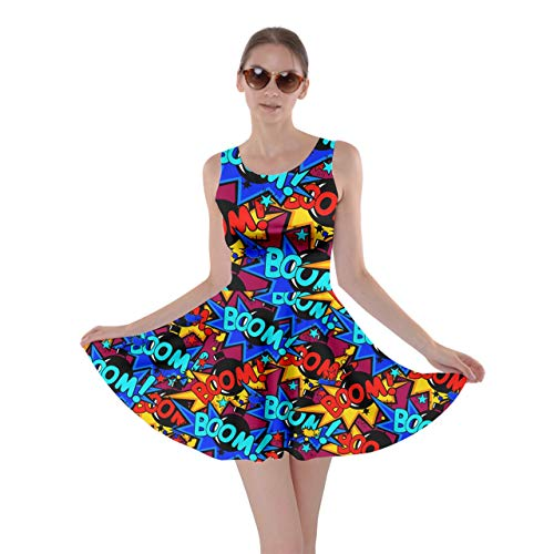 CowCow Womens Pop Art Cool Boom Dark Magenta Fun Casual Skater Dress - 2XL