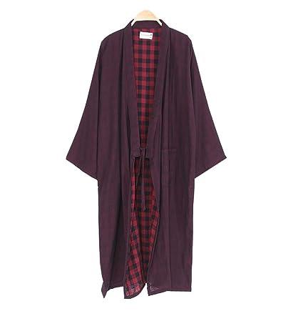 Top de kimono de color sólido para hombres con conjunto de pijamas de bolsillo y pantalón