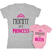 Mommy of a Princess & Daughter of a Queen Mother & Daughter Matching Set Shirt Bodysuit Clothing Newborn / Women X-Large, Women Gray / Baby Wow Pink
